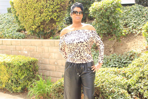 Leopard Off Shoulder Shirt