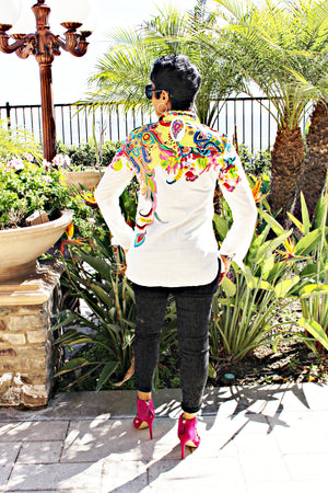 White Linen Shirt With Colorful Design