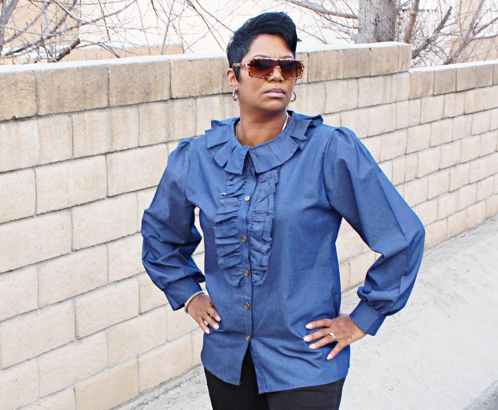 Denim Blouse With Puff Sleeves