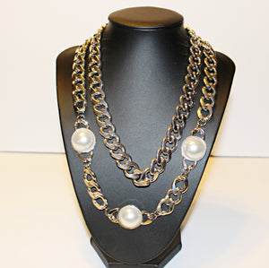 Silver  Double Chain Necklace