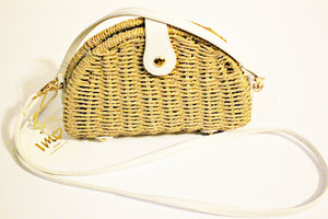 Wicker Purse With White Shoulder Strap