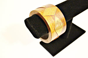 Wooden Bracelet With Gold Diamond Design