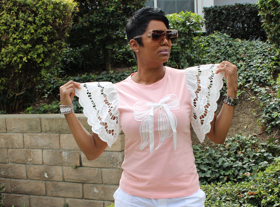Pink Lace Sleeve Shirt