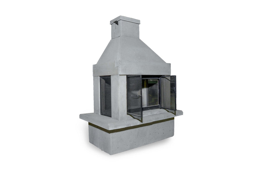 Three Screen Outdoor Fireplace Kit-Pewter