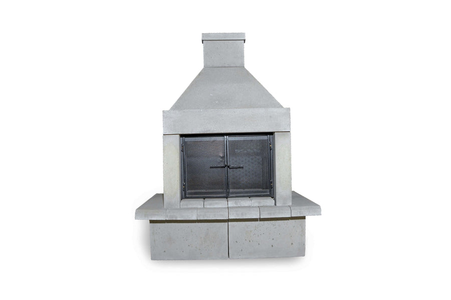 Open Outdoor Fireplace Kit-Pewter