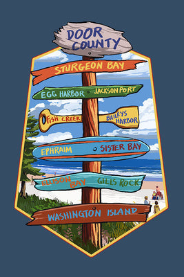 Door County Sign Post Dish Towel