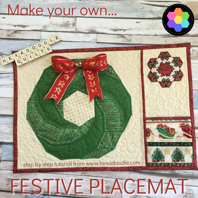 How to make a Festive Christmas Hexie Vortex EPP Placemat