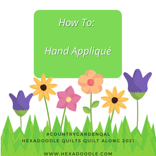 How to Hand Appliqué an EPP shape to a background fabric