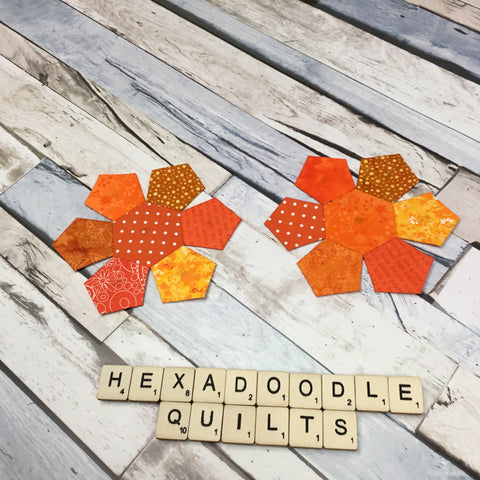 orange hexagons with orange pentagons stitched to all sides