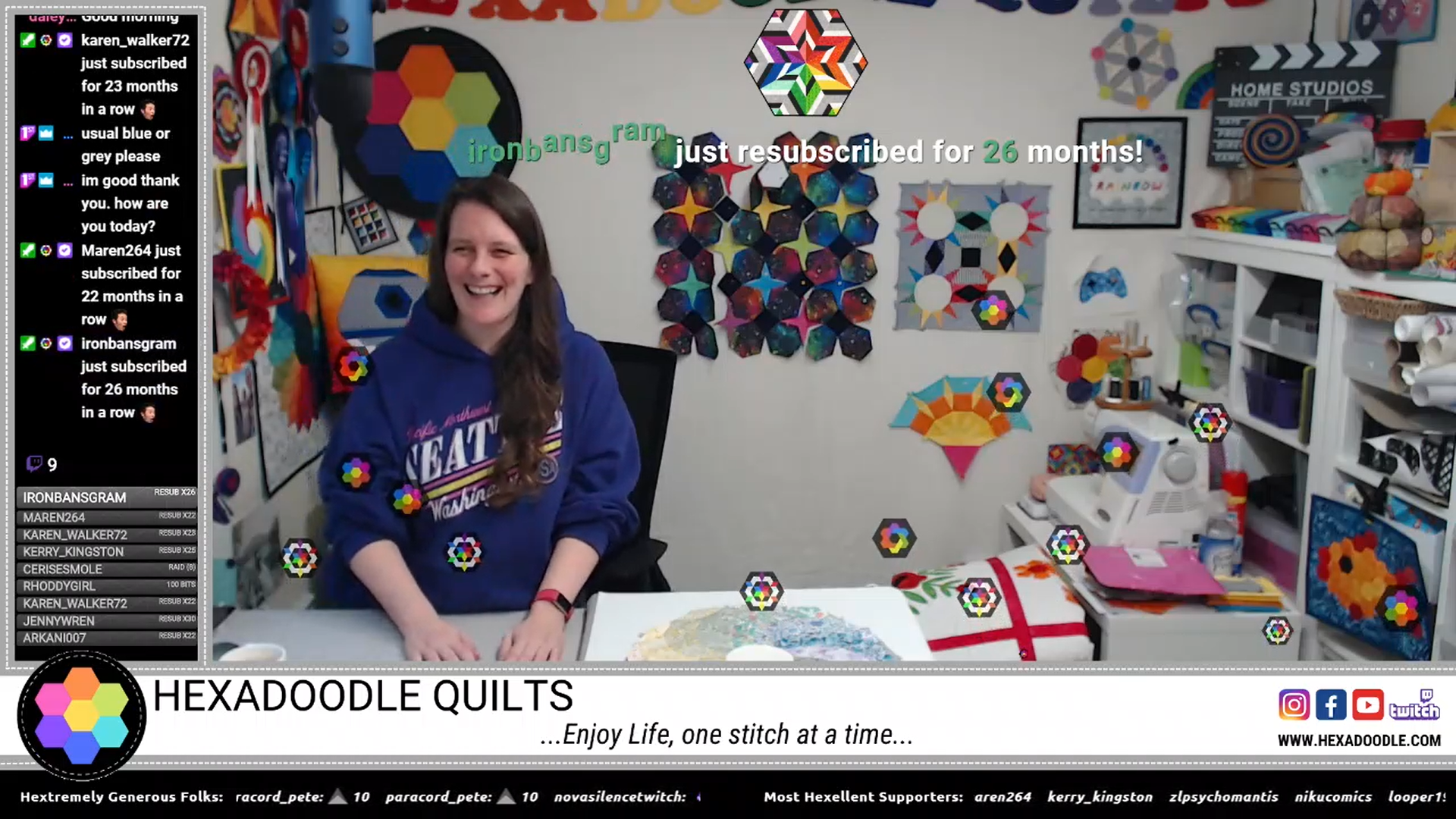 screenshot of Hexadoodle Quilts live stream on Twitch