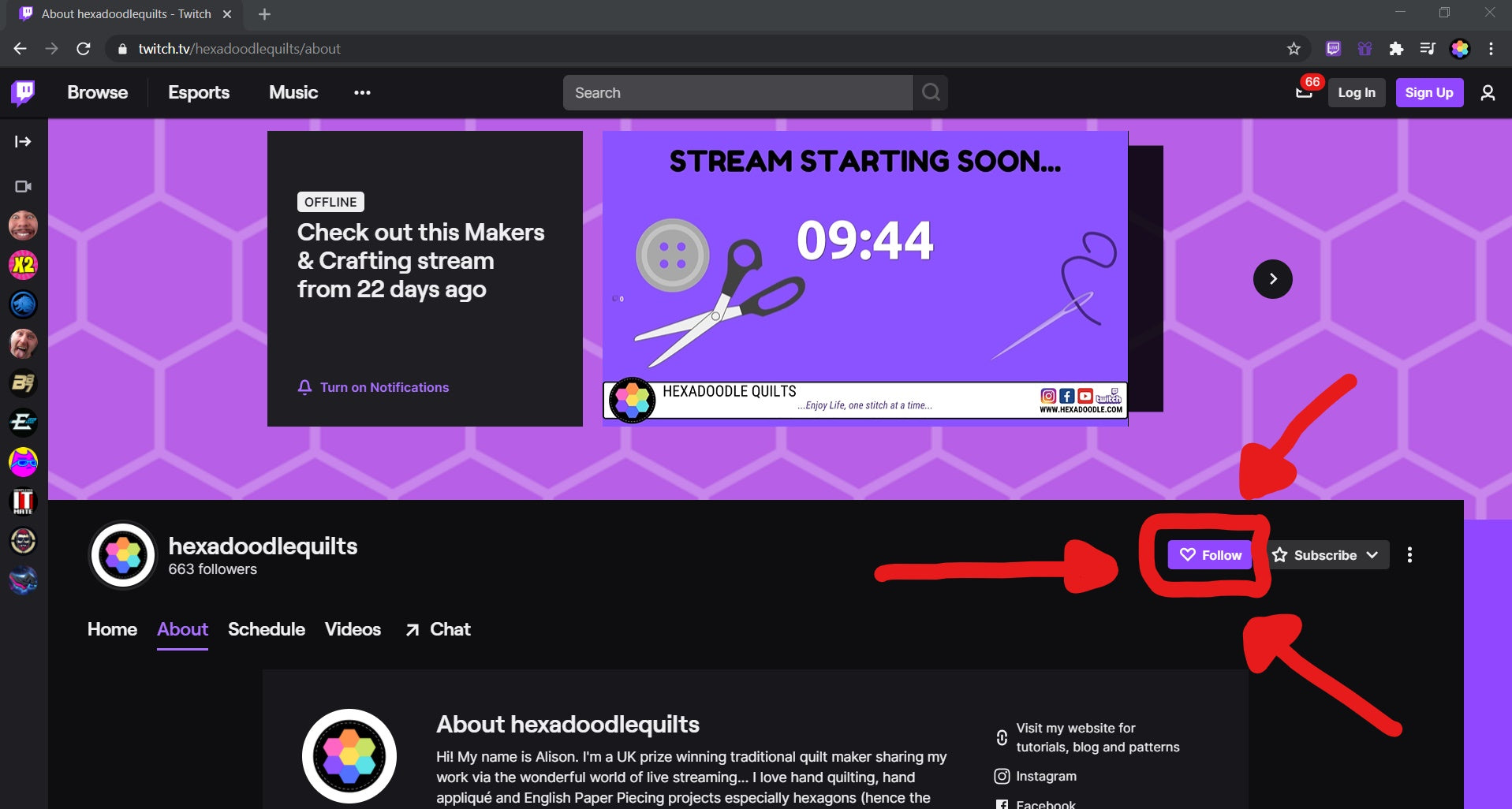 screenshot of Hexadoodle Quilts Twitch Homepage
