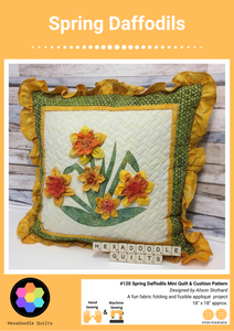 Spring Daffodils Pillow - Cushion - Mini Quilt Printed Pattern Booklet