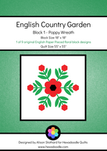 Load image into Gallery viewer, English Country Garden - Block 1 - Poppy Wreath