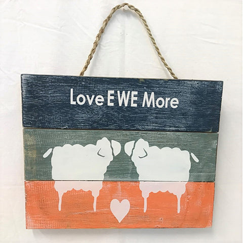 sign - love ewe more - 24x30cm - blue/orange