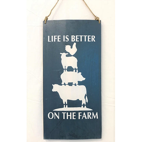 sign - life is better on the farm - dark blue - 20x40