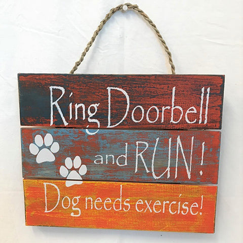 sign - ring doorbell & run…dark blue/green/yellow/orangewash - 24cm x 30cm