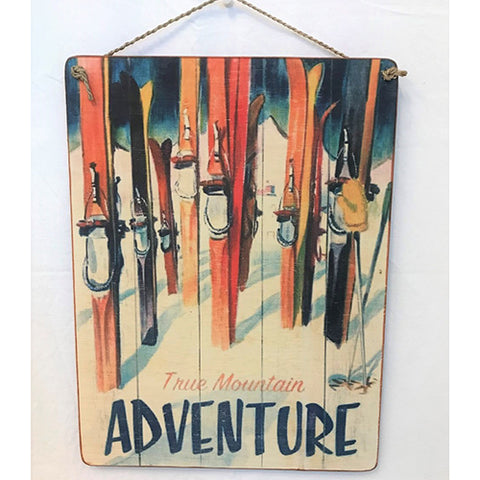 sign - true mountain adventure (skis) - 40x30cm