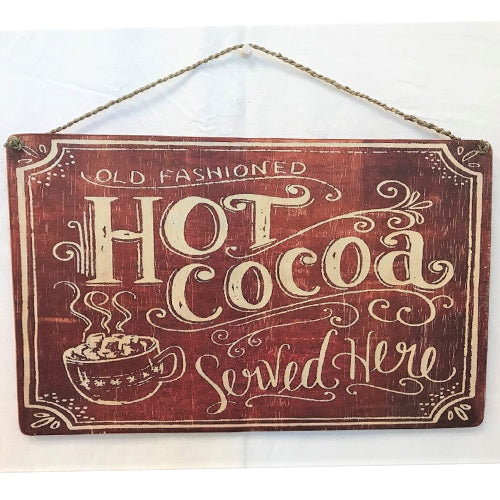 sign - hot cocoa - red & white - 40x25cm