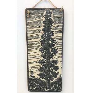sign - pine tree - black & white - with lines - 35x15cm