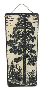 sign - pine tree - black & white - with Mtns - 35x15cm