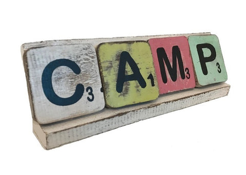 scrabble letter - camp - mix colour