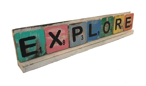 scrabble letter - explore - mix colour