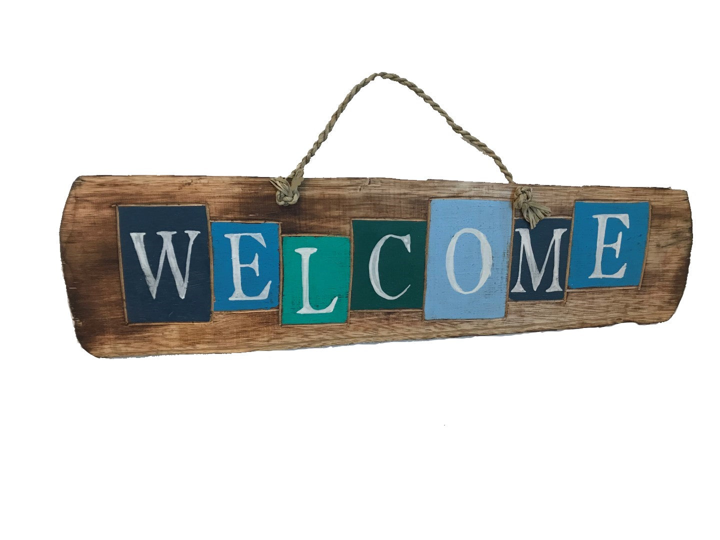 driftwood sign - welcome - colourful rustic letters