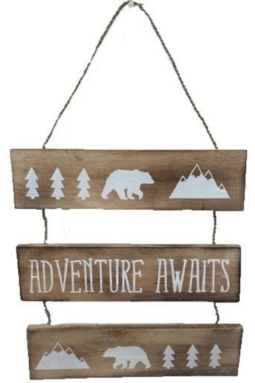 sign - 3 signs hanging - bear/adventure awaits/bear