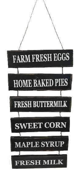 sign - farm fresh eggs/home baked pies/fresh buttermilk/sweet corn/maple syrup - BLACK - 63x30cm