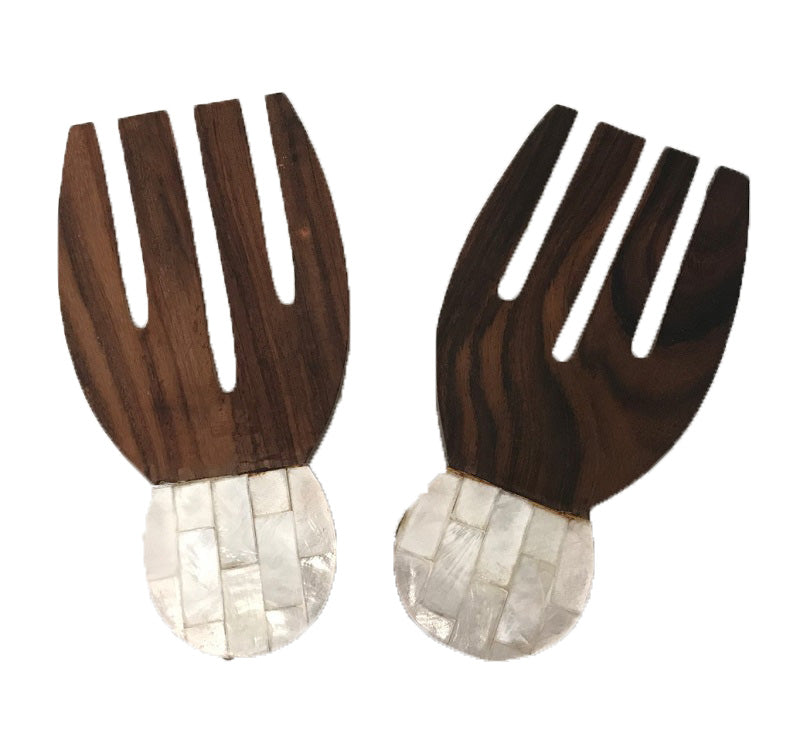 salad forks - bear claw - sonowood/shell