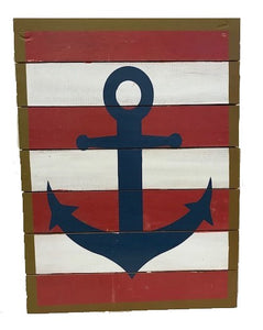 sign - anchor - blue / red & white stripes - 30cm x 40cm