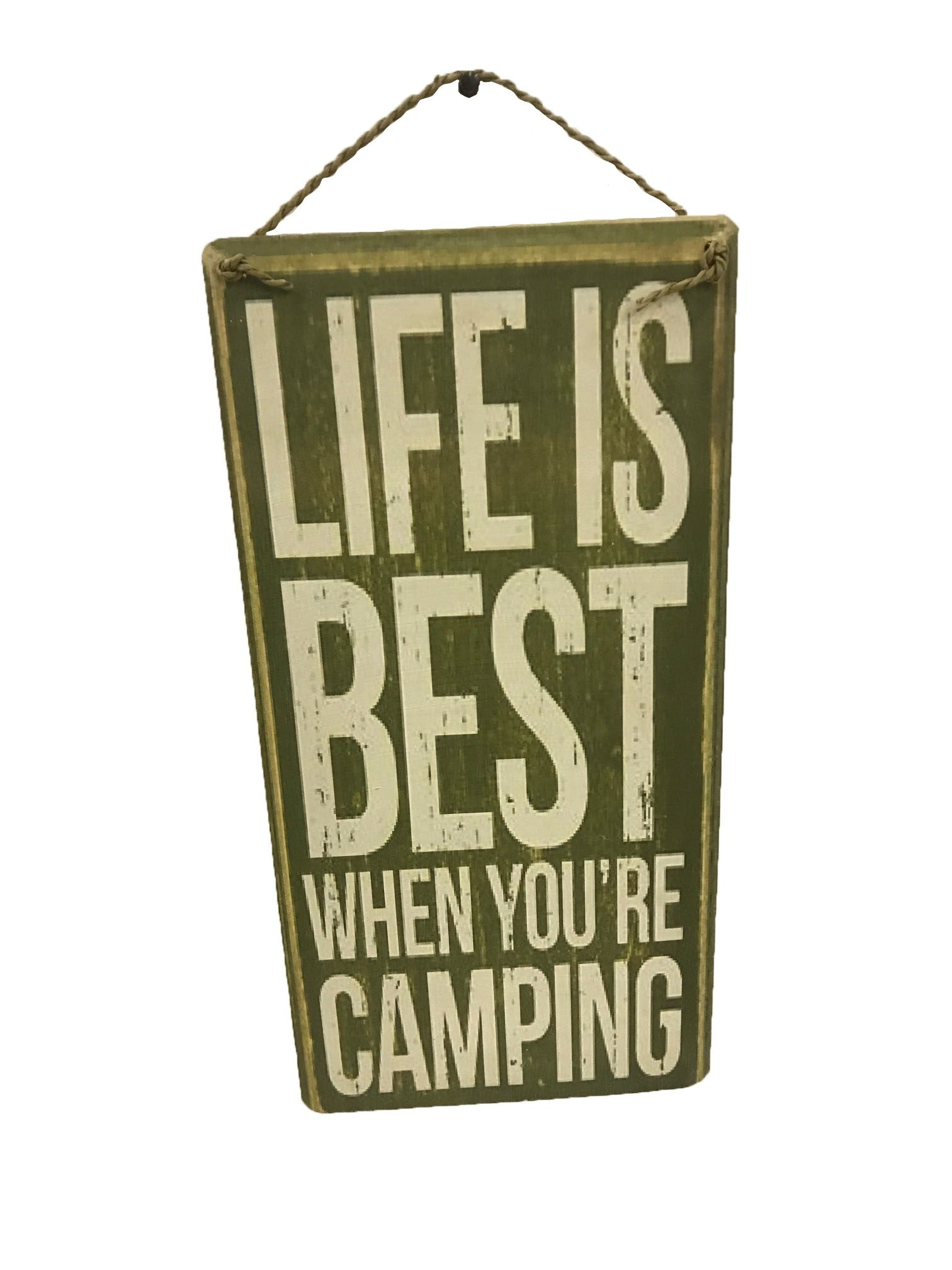 sign - life is best when you're camping 20cm x 40cm