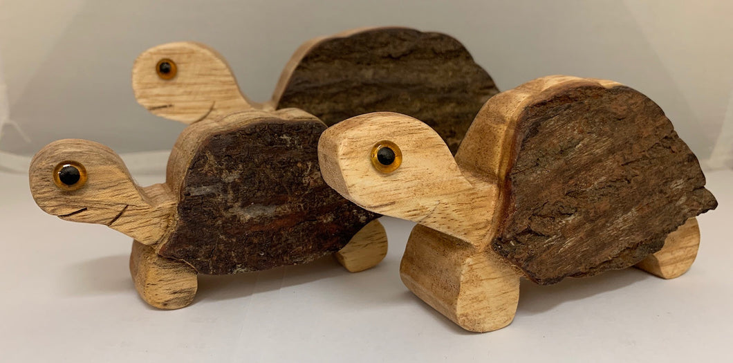 SET OF 3 Turtles made from Jampanis wood