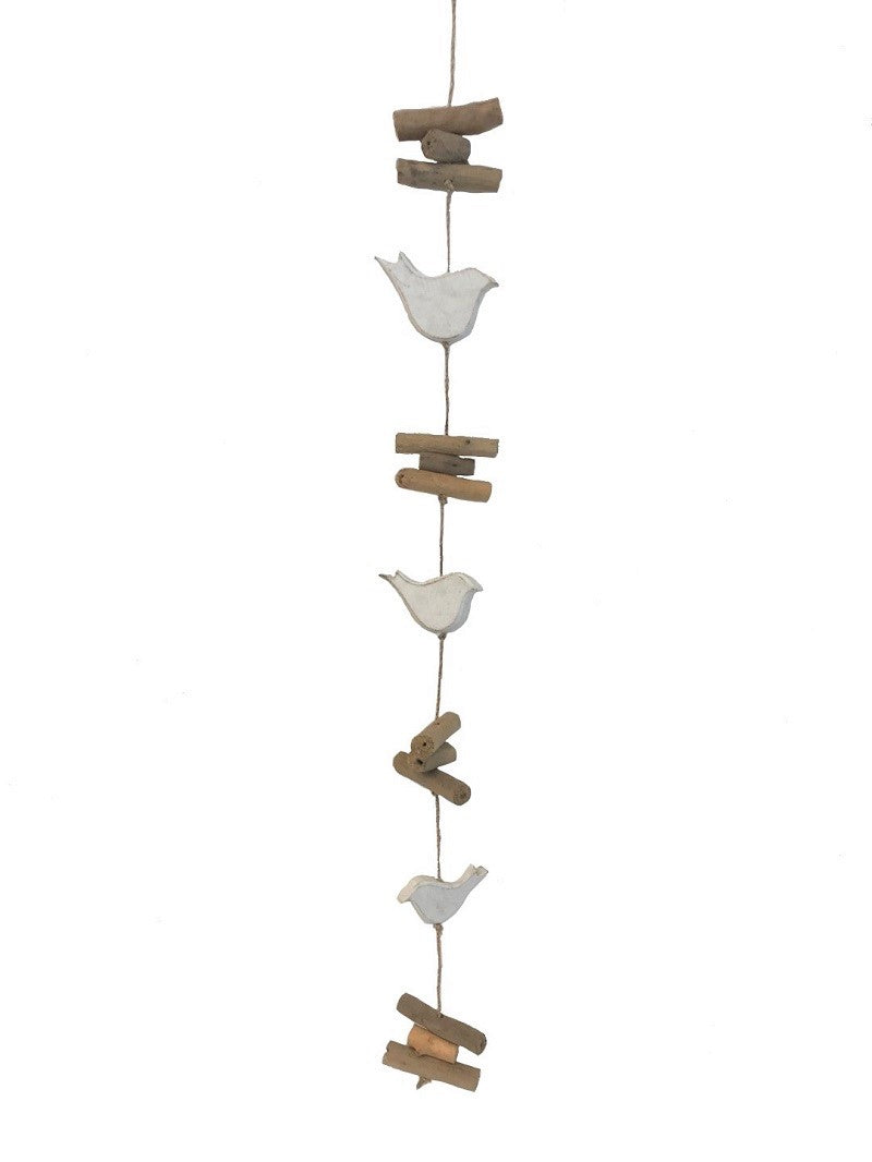 mobile - 3 dove - white/driftwood - long - 80cm