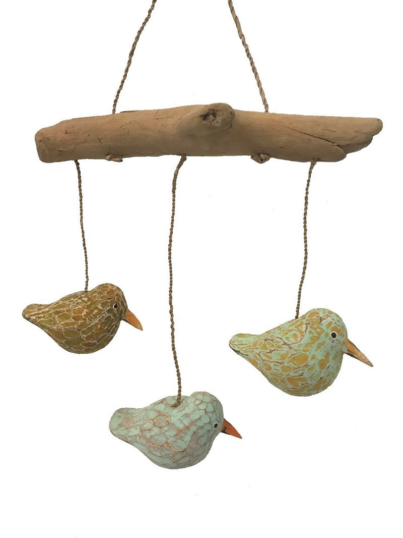 mobile - 3 bird round - driftwood - mix colour
