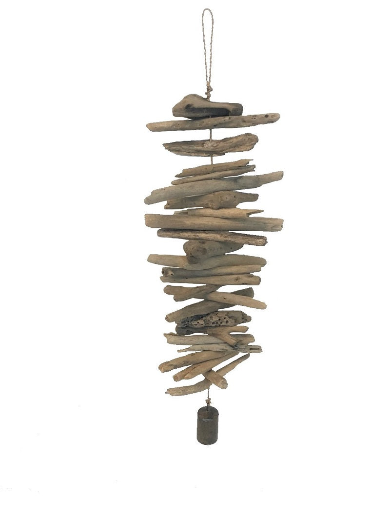 mobile - driftwood - small metal bell