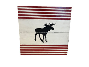 sign - moose - red strips - 30x30cm