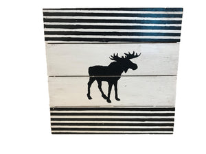 Black Striped Moose Sign