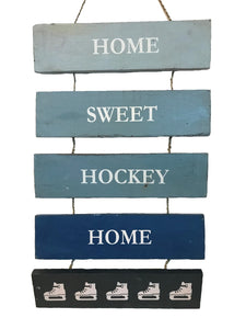sign - home sweet hockey - blue combo - 53cm x 30cm x 8cm