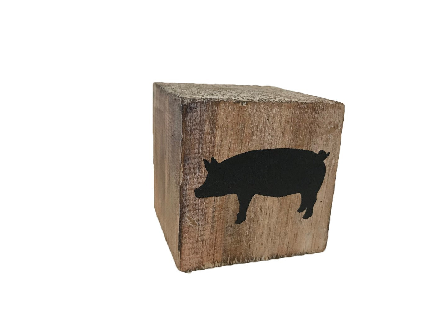 block - farm - pig - natural/black - 8cm