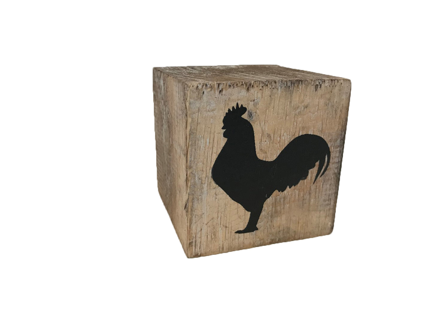 block - farm - rooster - natural/black - 8cm
