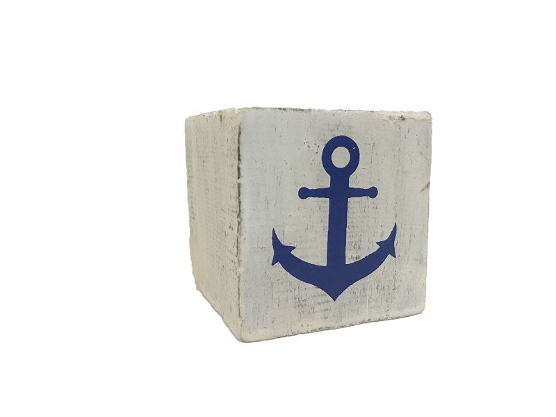 block - nautical - anchor - white/blue - 8cm
