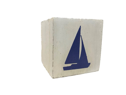 block - nautical - sailboat - white/blue - 8cm