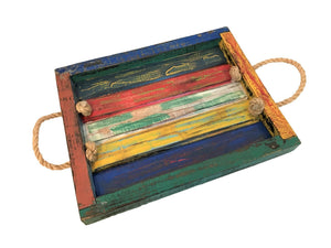 tray - rope handle - rustic - mix colour antique