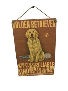 sign - dog - golden retriever - 20x30cm