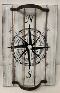 tray - 2 metal handle - compass - white antique/black