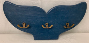 blue wash Whale Tail - 3 brass butterfly hooks