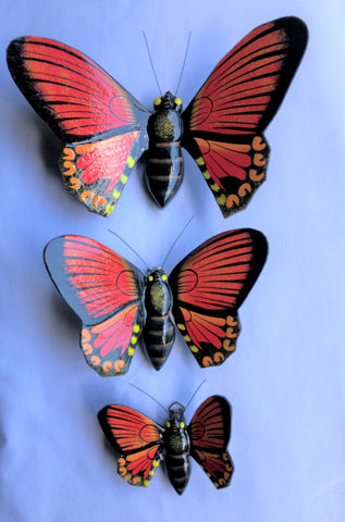 butterfly - SET OF 3 - for wall - red - wood/handpainted