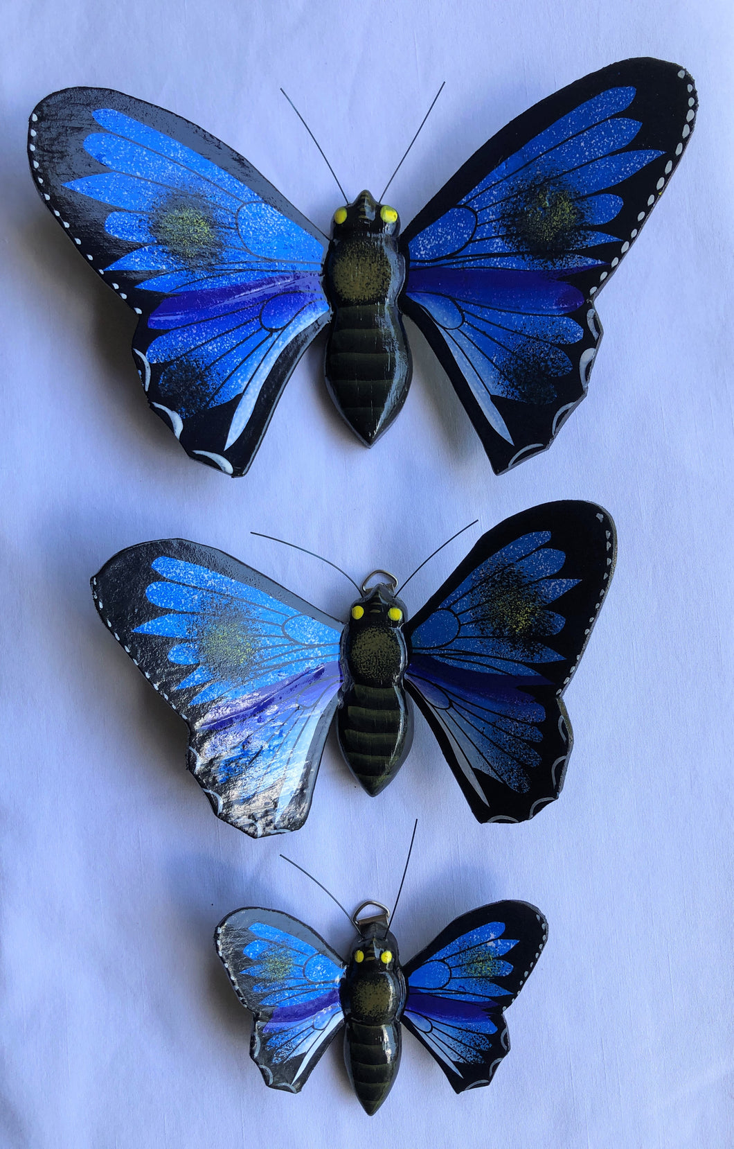 SET OF 3 Handpainted Wood Blue Butterfly Wall Magnets