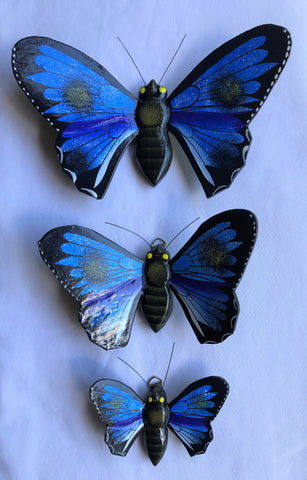 butterfly - SET OF 3 - for wall - blue - wood/handpainted